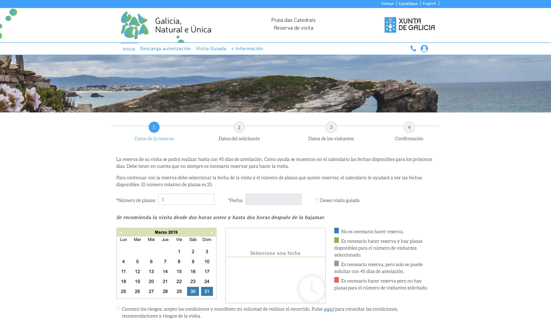 Reserva tu visita a la Playa Der las Catedrales - Página Oficial Xunta de Galicia